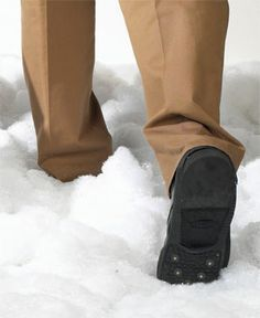 ICE TREADS - FOR MEN.   Walk safely on ice and snow. Heavy-duty rubber treads have sure-grip stainless-steel cleats that steady footing no matter how slippery the surface. Simply slip over shoes or boots- they stretch to fit entire foot; fold to carry in purse. Pair.
