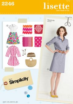 Shirt Dress Pattern Simplicity 2246 Lisette Traveler Shirtwaist Dress Womens Size 14 to 22 UNCUT Diy Clothing, Sewing Clothes, Clothing Patterns, Dress Patterns, Dress Sewing, Fabric Sewing, Dress Shirt, Shirt Dress Pattern, Feminine Fashion