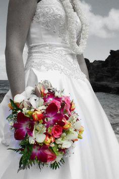 beautiful tropical flower wedding bouquet