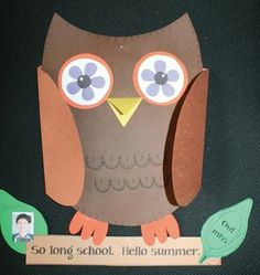 """So long school; hello summer writing prompt """"craftivity."""" Students complete the thought """"owl"""" miss... FREE"""