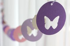6 Foot - Spring Butterfly Garland in Purple and Pink - available in your choice of colors - Party Banner Garland perfect for Baby Showers. $7.00, via Etsy.