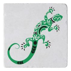 Animated Green Lizard Trivet