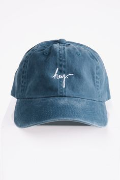 Piper & Scoot: The hey. Cap in Steel Blue Stylish Caps, Piper And Scoot, Bow Bag, Hat Embroidery, Cute Hats, Dad Hats, Hats For Women, Baseball Hats, My Style