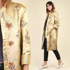 283c6a4ddef vintage 80s EMBROIDERED asian GOLD + SATIN jacket xs s / dijon silk duster  coat floral