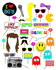 1980s Party Photo Booth Props, Photobooth Props, 80s, 80's, Party, I love the 80's