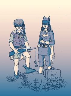 Moonrise Kingdom/Batgirl/Robin mashup by Ramon Villalobos, featured on Best Art Ever (This Week) - Moonrise Kingdom, Batgirl And Robin, Batman Robin, Ramones, Comic Books Art, Comic Art, Best Romantic Images, Dc Comics, Comic Kunst