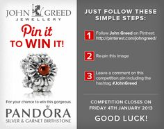 For your chance to win #JohnGreed #Competition goodies, simply follow the steps in the image. Closing date 04/01/2013. Important: Your twitter account must be linked to your Pinterest profile! Terms and conditions: http://blog.johngreedjewellery.com/jewellery/competitions/2013/01/pinterested-in-winning-john-greed-goodies