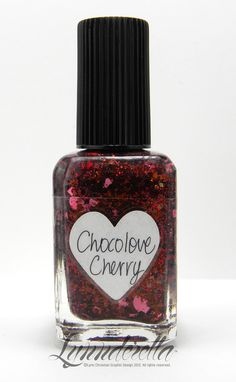 Chocolove Cherry contains brown, red and opaque bubblegum pink glitter (stars, hearts, squares) in a clear base. Originally conceived as chocolate cherries, but by a happy accident, colour combination may sometimes resemble Bing cherries, too.