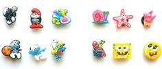 Smurfs Movie Shoe Charms 6 pc Set and Nickelodeon SpongeBob Shoe Charms 6 pc Set - Jibbitz Croc Style by Hermes. $11.99. Get your charms set now. Show your favorite characters on your croc style shoes. These hard to find sets come with 12 charms in each. Collect them all, Mix 'n Match, trade your friends.