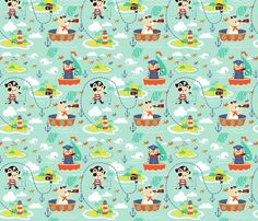 Work like a Captain and play like a Pirate fabric by theboutiquestudio on Spoonflower - custom fabric