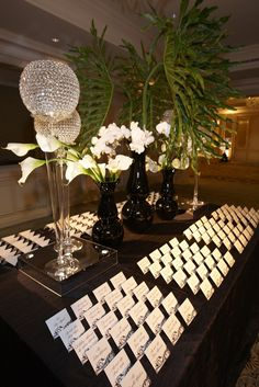 Black and white escort card display! Photograph by: KingenSmith