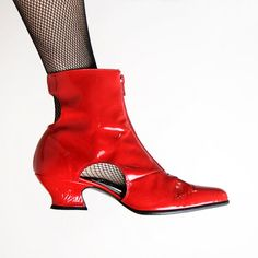 Vintage Cut Out Boots  Lipstick Red Badass Rocker Boots  by zwzzy, $70.00