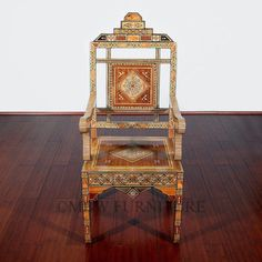 Rare Syrian Walnut Mosaic Inlaid Mother of Pearl Occasional Arm Chair