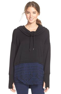 Pink Lotus 'Urban Beat' Jacquard Cowl Neck Hoodie available at #Nordstrom