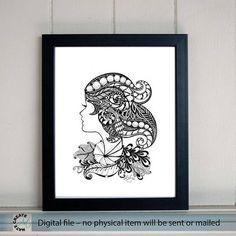 large Printable Art. Hand Painting Wall decor. Beautiful girl. Ethnic floral ornaments. 60x42 cm. Kids Room Wall Decor. Nursery art. Zen art