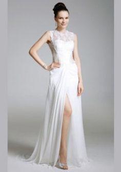 dentelle gaine en mousseline de soie / bijou colonne de balayage / pinceau sexy robe de bal