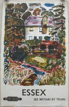 Essex - See Britain by Train, by George Hooper. A semi-abstract and colourful image of an un-named rural watermill in Essex. The artist's fauvist ideas come through in the use of a lot of colour throughout. Original Vintage Railway Poster available on originalrailwayposters.co.uk