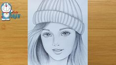 How to draw a girl wearing winter cap for beginners Pencil Sketches Of Girls, Pencil Drawings For Beginners, Pencil Sketch Drawing, Girl Drawing Sketches, Girly Drawings, Art Drawings Sketches Simple, Sketch Art, Cute Drawings Of Girls, Pencil Art