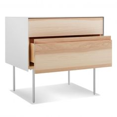 Information: Blu Dot Clad Nightstand Features: Sometimes we fall hard for a good mix of materials. Like beautiful, warm wood meeting the cool, smooth toughnes White Drawers, Wood Drawers, Solid Wood Furniture, Modern Furniture, Baby Bedroom Furniture, Plywood Interior, Hickory White, Modern Bedside Table, Furniture Collection