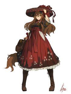 """ランサネ na Twitterze: """"ハイカラ風来スタイル… """" Fantasy Character Design, Character Concept, Character Inspiration, Character Art, Concept Art, Cute Characters, Fantasy Characters, Female Characters, Anime Characters"""