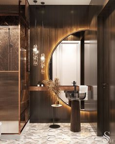 For all lovers of Contemporary Interiors,  Studia 54 creates the most luxurious designs that leaves us surrendered by the way it seduces us in this whole scenario. Home Room Design, Dream Home Design, Interior Design Living Room, Bathroom Design Luxury, Modern Bathroom, Bathroom Designs, Master Bathroom, Deco Baroque, Wooden Textures