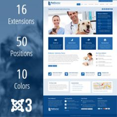 PetDoctor #veterinary #joomla 3 #theme by webunderdog. #Responsive web design #template available for download. This theme includes 50 module positions, 16 extensions, and 10 color style variations with the quickstart package. #veterinarian #pets #animal #rescue #shelter #clinic #medical #hospital #doctor #vet Hospital Doctor, Joomla Themes, Responsive Web, Animal Rescue, Clinic, Shelter, Extensions, Web Design, Medical