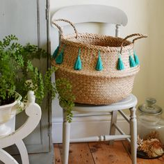 Boho Chic Seagrass Basket with Green Tassels