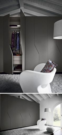 Cupboard doors with unconventional design to boost the decor portes placard en noir mat, chaise design en blanc neige et tapis gris - Door Alcove Cabinets, Bedroom Cupboards, Wardrobe Cabinets, Tv Cabinets, Bedroom Door Design, Wardrobe Design Bedroom, Closet Bedroom, Bedroom Storage, Bedroom Decor