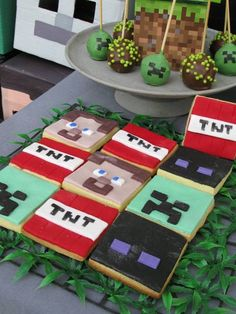 Square cookies from TNT Minecraft Birthday Party at Kara's Party Ideas. See it all at karaspartyideas.com!