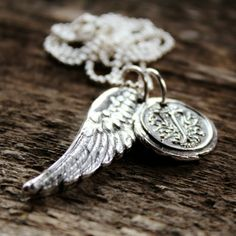 Personalized Fine Silver Angel Wing and Wax Seal Initial Charms - Loving Memories Initial Necklace | 2 Sisters Handcrafted
