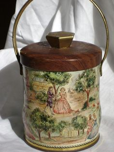 VINTAGE Tin Cottage Romance Round with Faux Wood by junquegypsy, $14.40