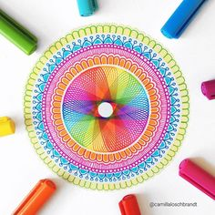 What do you think of this little spirograph mandala? Spirograph Art, Circle Rainbow, Line Doodles, Zentangle, Tatting, Thinking Of You, Outdoor Blanket, Arts And Crafts, Drawings