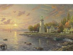 Thomas Kinkade Serenity Cove painting for sale - Thomas Kinkade Serenity Cove is handmade art reproduction; You can buy Thomas Kinkade Serenity Cove painting on canvas or frame. Lighthouse Pictures, Lighthouse Art, Lighthouse Gifts, Thomas Kinkade Art, Kinkade Paintings, Oil Paintings, Sunset Paintings, Painting Art, Painting Prints