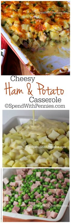 Cheesy Ham and Potato Casserole ~ Delicious layers of potatoes, ham & peas smothered in a creamy homemade cheese sauce!!  <3