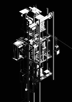archisketchbook - architecture-sketchbook, a pool of architecture drawings, models and ideas - katiebrownearchitecture: Separation Task - Katie. Paper Architecture, Architecture Sketchbook, Architecture Graphics, Architecture Design, Infrastructure Architecture, Axonometric Drawing, Isometric Drawing, Conceptual Drawing, Designs To Draw