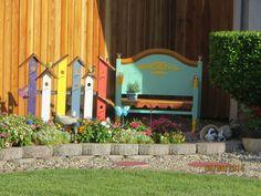 Colorful birdhouse trellis