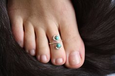 Genuine Turquoise and Sterling Silver Wire Wrapped Adjustable Ring/Toe Ring FREE SHIPPING
