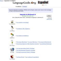 Página web donde se puede practicar vocabulario. http://www.languageguide.org/spanish/vocabulary/' snapped on Snapito!