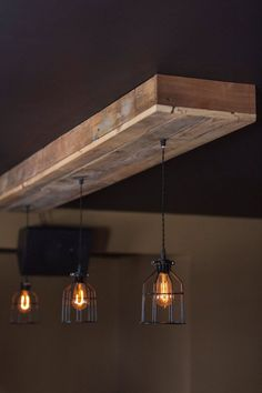 Choose custom made size reclaimed barn wood siding lamp with caged Edison bulbs for // Bar // Restaurant // Home - Rustic lighting *