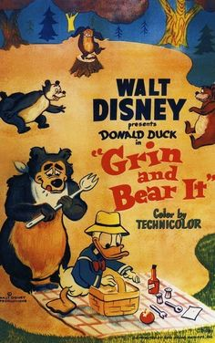 Poster from Grin and Bear it Vintage Disney Posters, Retro Disney, Vintage Cartoons, Disney Movie Posters, Disney Duck, Classic Movie Posters, Cartoon Posters, Old Disney, Classic Cartoons