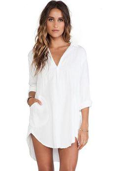 White Long Sleeve Loose Shirt Dress