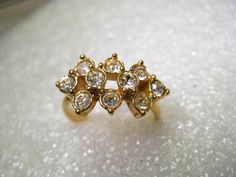 Vintage Gold Tone Rhinestone Fashion Ring, Size 7, Tiered, 1980's #Unsigned #cocktailfashion