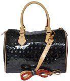Arcadia Italian Patent Embossed Leather Purse Handbag Black