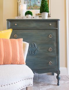 Annie Sloan Aubusson blue base, Country Grey mixed with clear wax, dark wax topped. Depression Era chest.