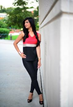 Red Top with Faux Leather Pants and Christian Louboutin Pumps-009