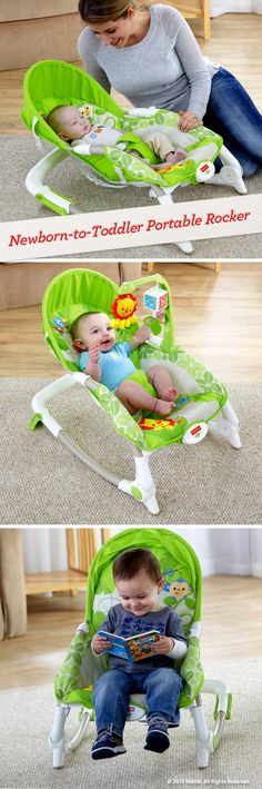Easy adjustments let you convert a gentle rocker into a stationary seat with three reclining positions for both babies and toddlers. #BabyGear #FisherPrice