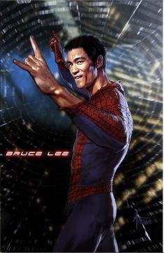 """『スパイダーマン』なら絶対にブルース・リーだろ! あるイラストレーターが描いた """"夢のキャスティング"""" が素晴らしくウマい!!"""