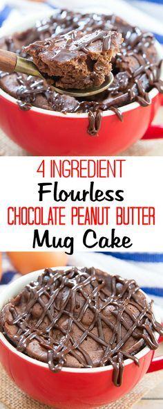 4 Ingredient Flourless Chocolate Peanut Butter Mug Cake