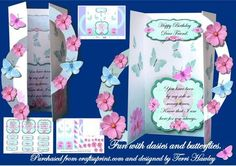 fun with daisies and butterflies on Craftsuprint - Add To Basket!