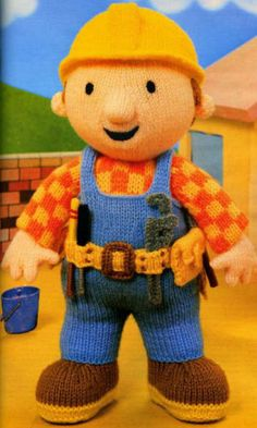Bob the Builder Toy Knitting Pattern PDF instant by EdithCrafts